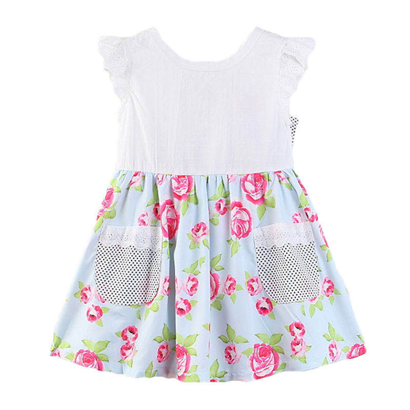 Girls Cotton Floral Printed Bowknot Design DRESS