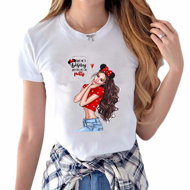 Cute DISNEY Girl Printed Women Casual Short-sleeve T-shirt