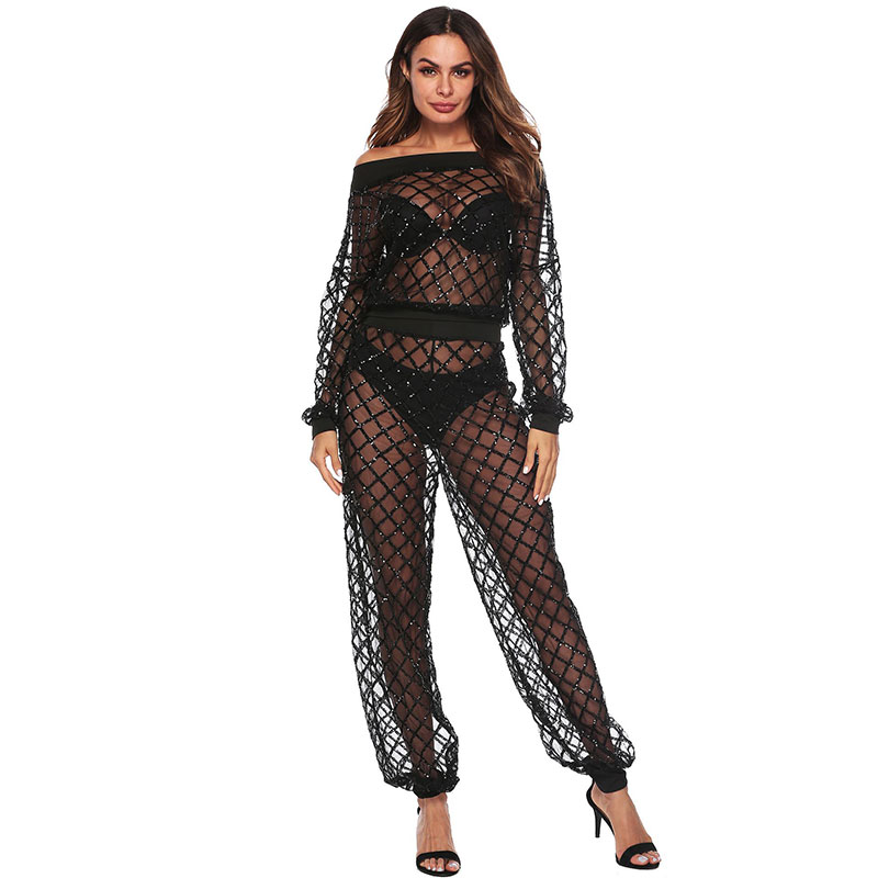 Sexy Lady See-through FISHING Net Pattern Long-sleeve Jumpsuits