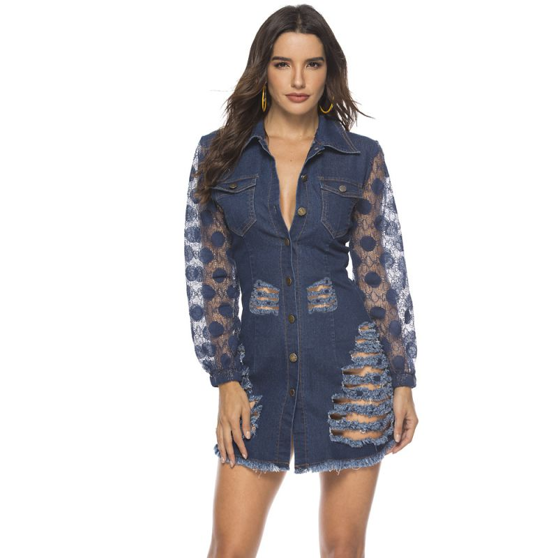 Women Fashion Patchwork Lace Hollow Out Design Single-breasted Raw Hem Ripped Denim DRESS
