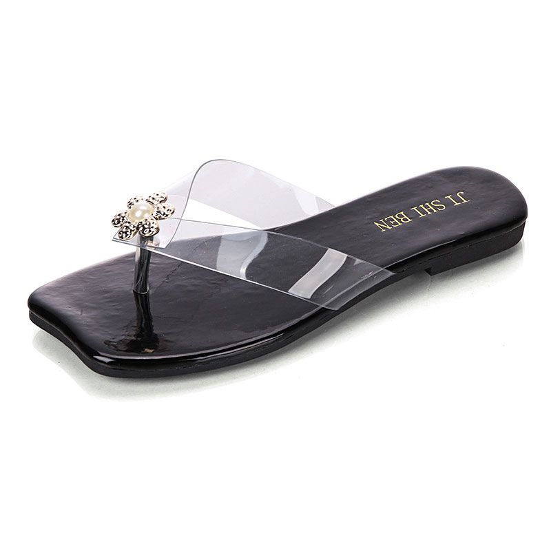 Flower Rhinestone Decor Transparent Strap Upper Vacation Style Flip-flop Slippers SHOES