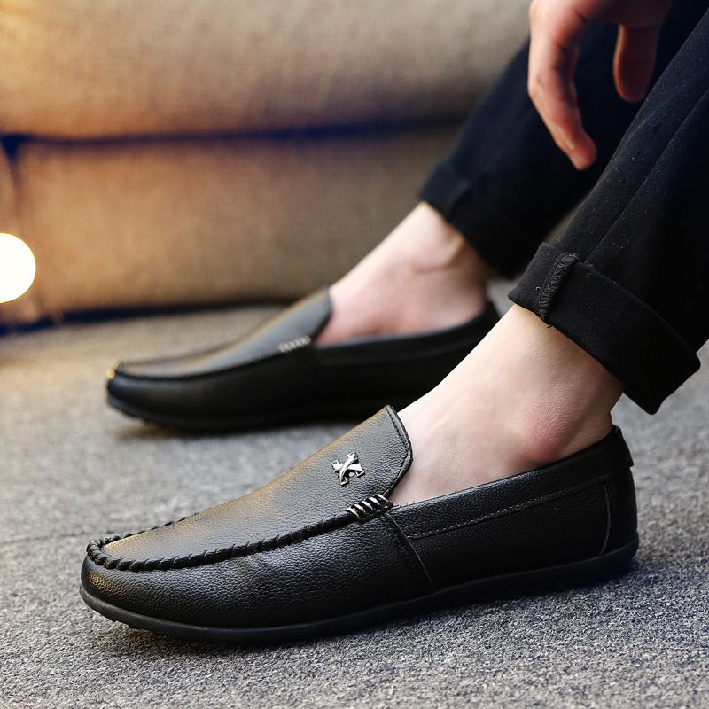 New Arrival British Style Men Round-toe Metal Pattern Decor Flat SHOES
