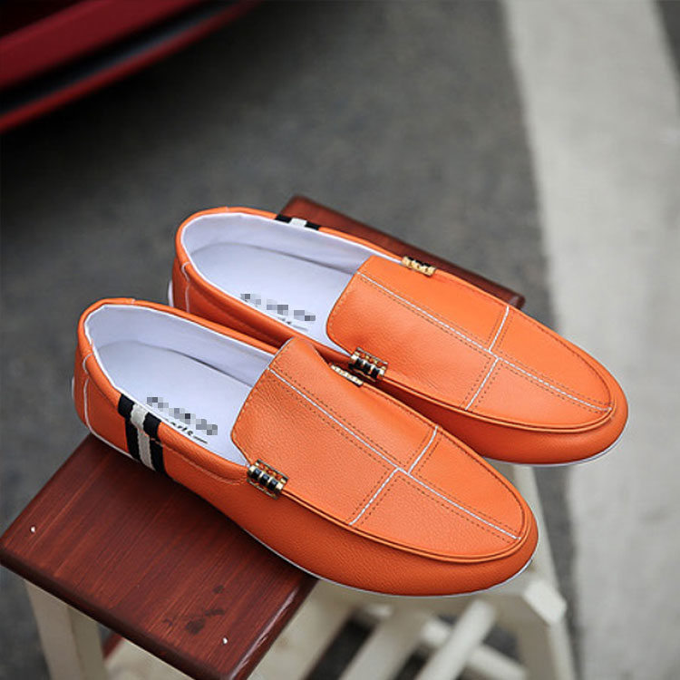 Stripe Pattern Men Shallow Mouth Slip On Loafers SHOES