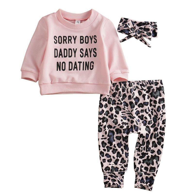 3 Pcs Baby Girl CLOTHING Set Pink Sweatshirts And Leopard Pants With Headband