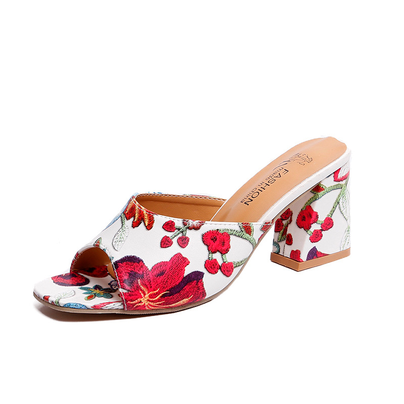 Size:4.5-9 Women Block Mid Heels Floral Print Slippers SHOES