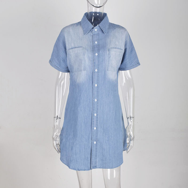 S-XL Lapel Short-sleeve Single-breasted Casual Shirt DRESS