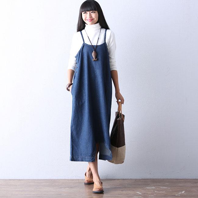 M-XXL Women Fashion Loose Two Wearing Ways Denim Jumpsuits DRESS