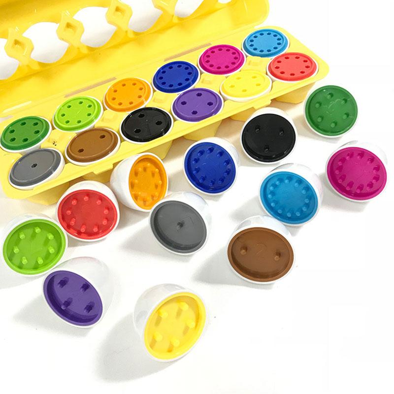 12pcs Recognize Color Shape Matching Eggs Kids Puzzle TOYS