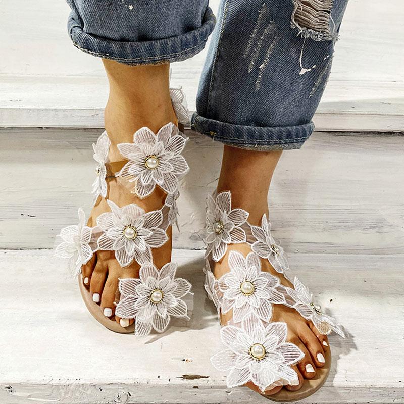 Flowers Pearl Decoration Flat Sandals