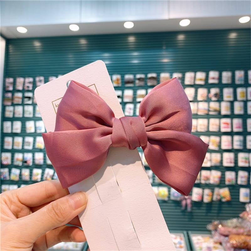 Girls Simple Solid Color Bowknot HAIR ACCESSORIES